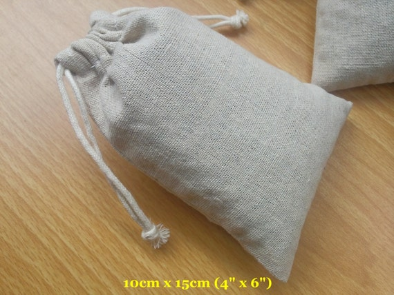 "50 pcs 4""x6"" Organza Bags Plain Cotton Linen Bags Jewelry Pouches String Bags Cloth Bags"