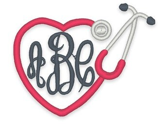 Heart Stethoscope Monogram Frame Embroidery Design - Instant Download