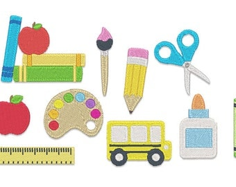 Mini Back to School Embroidery Design Set- Instant Download