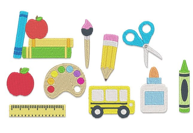 Mini back to school embroidery design set instant download