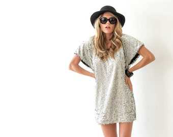 luxury sequined gold white dress , Gold sparkling mini dress