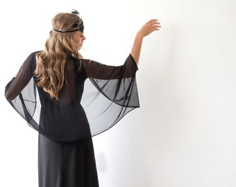 Black Chiffon shrug, Chiffon black cover up