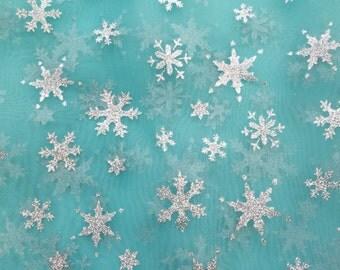 Snowflake Sheer Organza Aqua 60 inch Fabric by the Yard, 1 yard