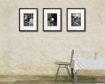 Rustic Yellowstone Photo Set, Black & White Photography, Nostalgic Decor, Cabin Art, Large Wall Art, Set of Three 3 Prints