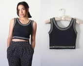 Vintage 90's Caché sleeveless black crop top with white stitching