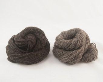 Handspun Yarn Undyed  Brown and Grey