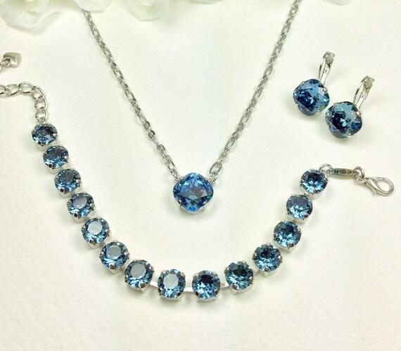 Swarovski Crystal 12MM Necklace - One Stone Cushion Cut Pendant Designer Inspired - Denim Blue -  Sparkle & Shimmer - FREE SHIPPING