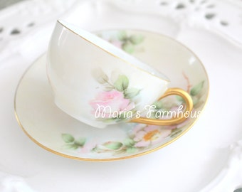 Antique Tresseman and Vogt T & V, Limoges, Hand-Painted Tea Cup and Saucer, Tea Party - c. 1892 - 1907