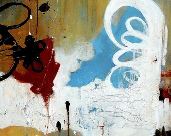 SALE Abstract Acrylic and Collage Painting, Original Canvas Art by Sarah Ettinger, Titled: Boxing Day, 24 x 24