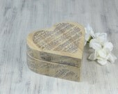 Heart Ring Bearer Box, Music Sheet Wedding ring box, Rustic Ring Bearer Pillow Alternative, proposal ring box,  personalized