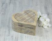 Heart Ring Bearer Box, Music Sheet Wedding ring box, Rustic Ring Bearer Pillow Alternative, proposal ring box,  personalized