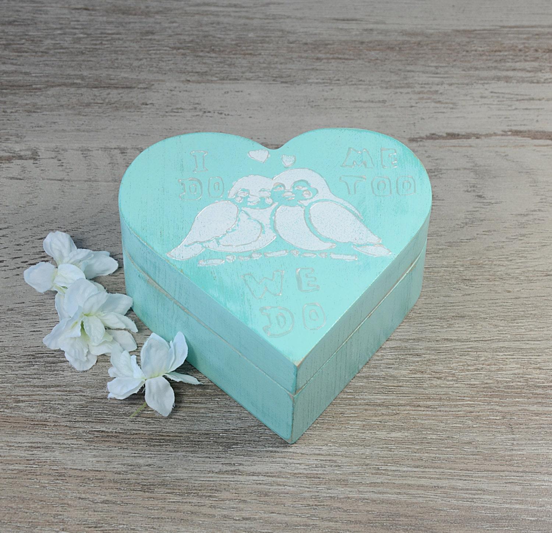 Mint green heart ring bearer box wedding ring bearer pillow for Heart ring box