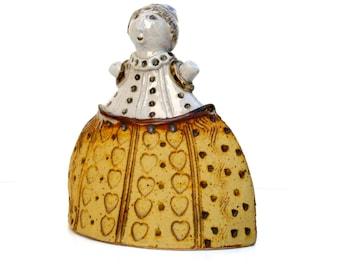 "Ceramic Sculpture  , Art ,""  Girl In A Yellow Dress ""   , Home Decor , Woman Figurine"