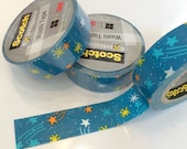 Blue Yellow and Orange Shooting Star (Space) Washi