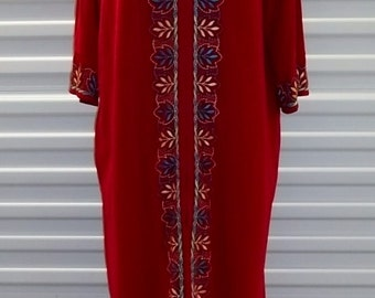 Vintage 70's Dress Red House Coat Long Wide Maxi Lounge Caftan Size Large Free Shipping
