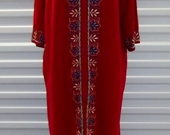 "Vintage 70's Women Dress ""Katz"" Red House Coat Long Wide Maxi Lounge Caftan Size Large Free Shipping"
