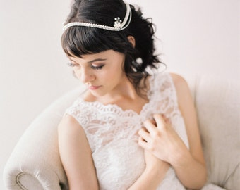 1950's style Bridal Headpiece, Pearl and Crystal Bridal Headband with Tiny Flowers #301HP