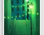 Night walking - Paris illustration Montmartre Art illustration Giclee print Poster Architecture Home decor Wall art City print Green Blue