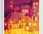 Paris illustration - Montmartre at night - Art Illustration Print Poster Paris Art Prints Paris decor Wall decor Architectural drawing Red