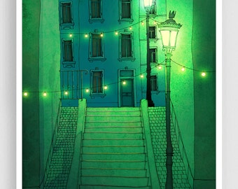 Night walking - Paris illustration Montmartre Art illustration Giclee print Poster Architecture Home decor Wall art City print Green Blue