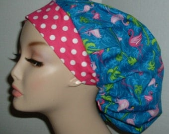 Pink Flamingo Palm Trees Bouffant OR scrub hat CNOR CRNA