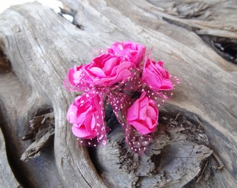 Fuchsia Flower Wedding Hair Pins,  Bridal Hair Pins, Hair Accessories, Fabric Hair Pins, Bridesmaid Hair, Woodland - Set of 6