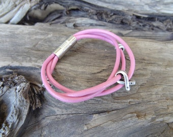 Breast Cancer Leather Bracelet,  Pink Leather Bracelet, Chrome Magnet Clasp, Triple Genuine Leather Bracelet, Women Gifts