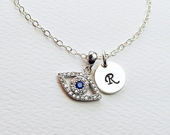 All Sterling Evil Eye Charm Initial  Necklace, Dainty Love Friendship Family Personalized Initial Jewelry