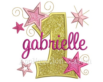 Star Number One 1st Birthday Applique Machine Embroidery Design first INSTANT DOWNLOAD