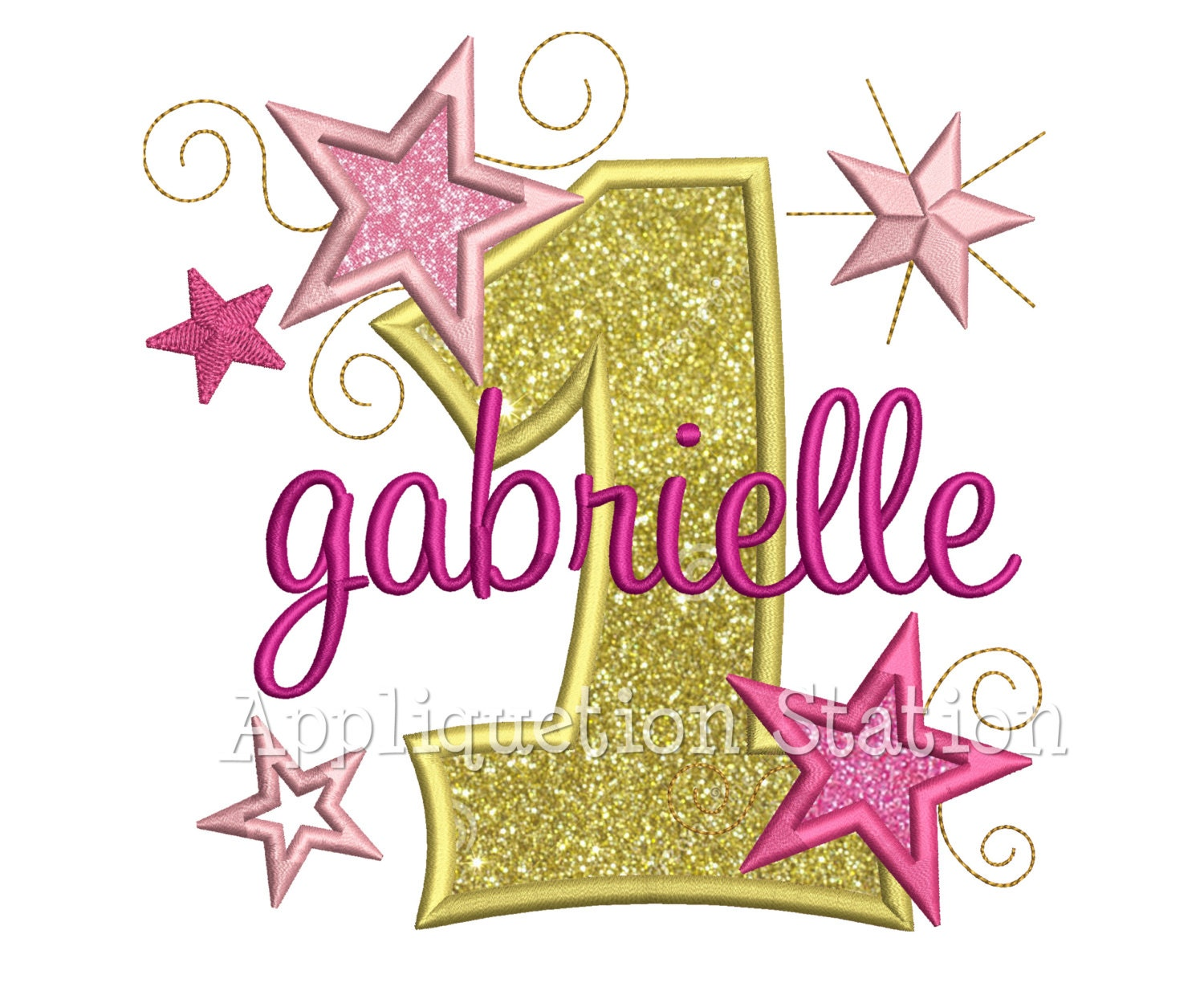Star number one st birthday applique machine embroidery