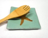 Pottery Soap Dish, Ceramic Soap Dish, Pottery Plate, Ceramic Plate, Pottery Spoon Rest, Square Plate, Starfish Plate in Speckled Turquoise