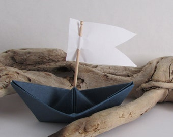 paper boat origami decoration photo prop art supply lot of 10 navy blue boats with sails