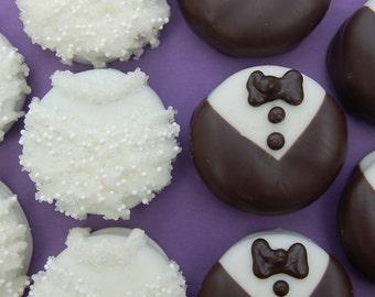 SAMPLE ORDER for OREO Bride and Groom Couple by PlainOldeJane chocolate covered oreo or pretzel wedding or bridal shower favor
