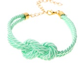 Bridesmaid gift - Small mint silk Knot Bracelet - 24k gold plated