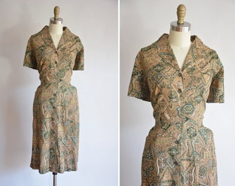 50s A Million Puzzles  dress/ vintage 1950s cotton sundress/ vintage abstract floral daydreams