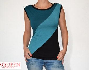 asymetrical top black dark turquoise jersey streetwear Berlin