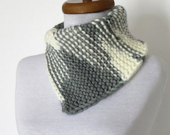 Cowl Neck Warmer /Cowl Neck Warmer / Grey White / Hand Knit,Colorfull  neck warmer. Cozy scarves,cozy knit,capelet,for her,gifts,