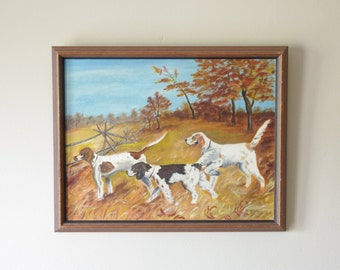 Vintage Three Hunting Dogs Painting - Framed Painting - Cabin Decor