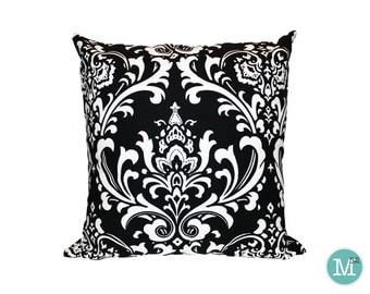 Black & White Damask Pillow Cover - 20 x 20 and More Sizes - Zipper Closure