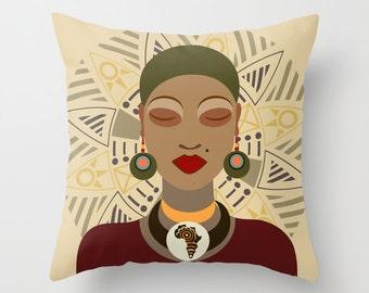 African Pillow, African Queen Decor Pillow, Afrocentric Decorative Throw Pillow, African Home Decor, African Woman
