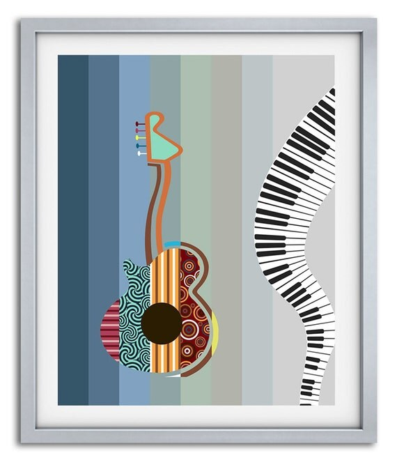 Guitar pop art music inspired wall decor gift for by iqstudio for Pop wall art