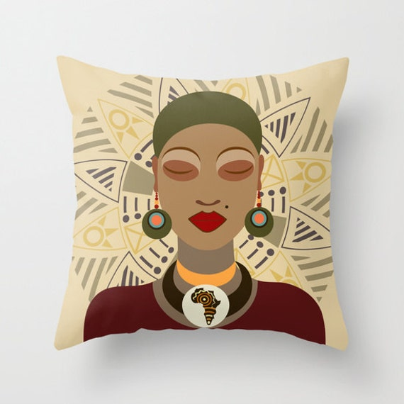 African Pillow, African Queen Decor Pillow, Afrocentric Decorative Throw Pillow, African Home Decor, African Woman