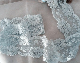 light blue lace trim, embroidered lace