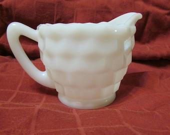 Vintage white milk glass Hazel Atlas cube creamer