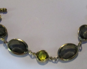 Vintage Marcella smoky olive and amber jeweled bracelet 7 1/2 inches