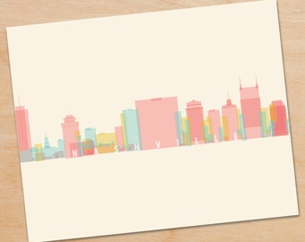 Nashville Skyline Print, Nashville Wall Art, Nashville Print, Nashville Art, skyline prints, wall art, skyline art, home decor, poster