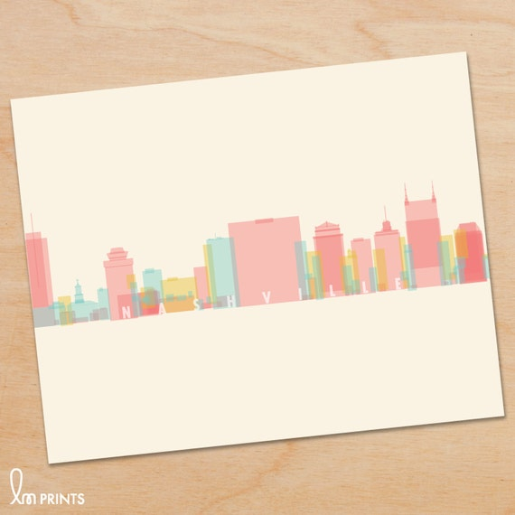 Nashville Skyline Print Nashville Wall Art Nashville Print