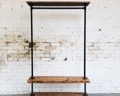 Rustic Industrial Reclaimed Wood Rolling Double Garment Rack with Top Shelf