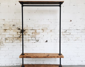 Rustic Industrial Reclaimed Wood Retail Rolling Double Garment Rack with Top Shelf