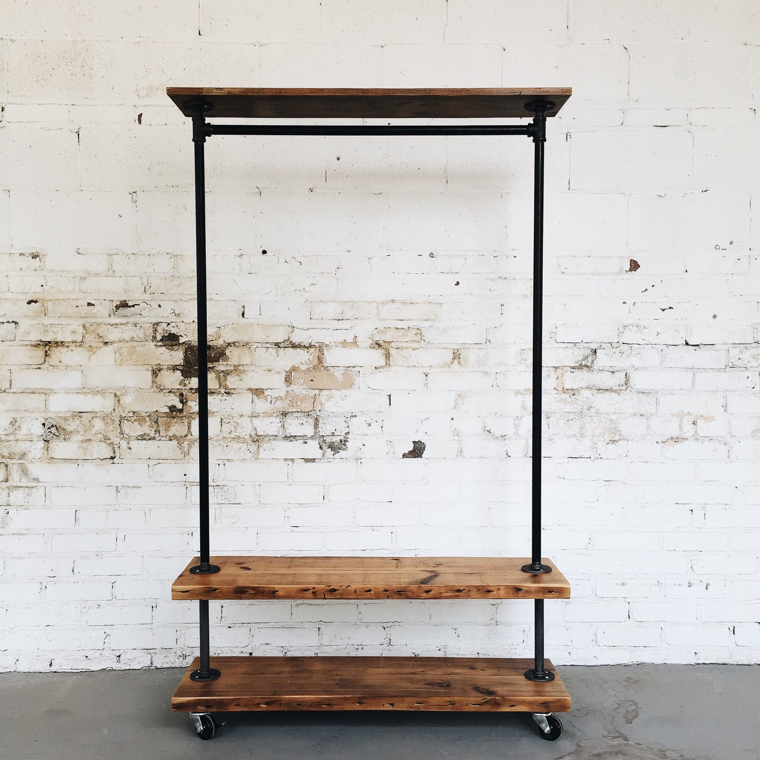 Rustic industrial reclaimed wood retail rolling double garment